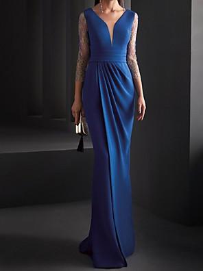 cheap Evening Dresses-Mermaid / Trumpet Elegant Minimalist Engagement Formal Evening Dress V Neck 3/4 Length Sleeve Floor Length Spandex Lace with Sleek Pleats 2020 / Illusion Sleeve