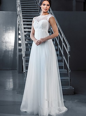 cheap Wedding Dresses-A-Line Wedding Dresses Off Shoulder Court Train Lace Tulle Sleeveless Sexy with Appliques 2020