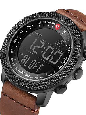 cheap Sport Watches-KADEMAN Men's Sport Watch Digital Modern Style Sporty Casual Water Resistant / Waterproof Genuine Leather Digital - Black Brown Coffee / Calendar / date / day / Noctilucent