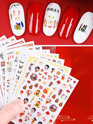 cheap Bikinis-1 pcs Full Nail Stickers Creative / Animal nail art Manicure Pedicure Glossy / Ergonomic Design / Creative Elegant / Chinoiserie Party / Evening / Daily / Festival