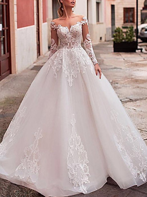 cheap Prom Dresses-A-Line Wedding Dresses Jewel Neck Sweep / Brush Train Lace Tulle Long Sleeve Formal Sexy See-Through Backless with Embroidery Appliques 2020