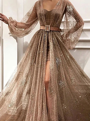 cheap Evening Dresses-A-Line Glittering Luxurious Engagement Prom Dress Sweetheart Neckline Long Sleeve Sweep / Brush Train Tulle with Sash / Ribbon Pleats Split 2020