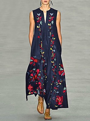 cheap Evening Dresses-Women's A-Line Dress Maxi long Dress - Sleeveless Geometric Print Summer Fall Casual Elegant Daily Going out 2020 White Black Yellow Blushing Pink Dusty Blue Light Blue S M L XL XXL XXXL XXXXL XXXXXL