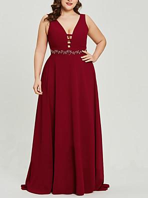 cheap Prom Dresses-A-Line Beautiful Back Plus Size Wedding Guest Formal Evening Dress V Neck Sleeveless Sweep / Brush Train Chiffon with Sash / Ribbon 2020