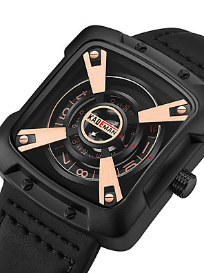 cheap Sport Watches-KADEMAN Men's Sport Watch Quartz Modern Style Stylish Cool Water Resistant / Waterproof Genuine Leather Analog - Golden / Brown Black / Silver Black+Gloden