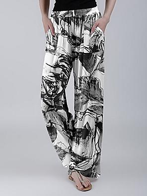 cheap Mini Dresses-Women's Basic Loose Wide Leg Pants Print Black Blue Purple S M L