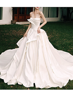 cheap Prom Dresses-A-Line Wedding Dresses Strapless Watteau Train Satin Sleeveless Formal Elegant with Ruffles 2020