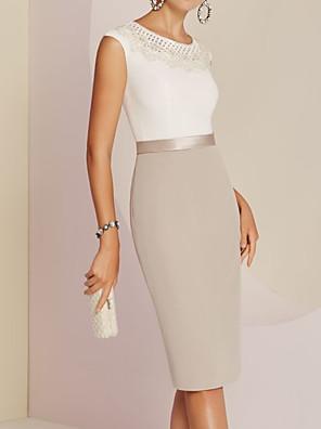 cheap Evening Dresses-Sheath / Column Mother of the Bride Dress Elegant Jewel Neck Knee Length Satin Sleeveless with Appliques Color Block 2020