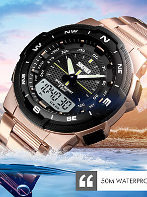 cheap Sport Watches-Men's Sport Watch Military Watch Digital Watch Digital Luxury Alarm Stainless Steel Black / Silver / Gold Analog - Digital - Rose Gold Black Gold One Year Battery Life / Calendar / date / day