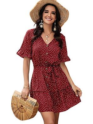 Χαμηλού Κόστους Μίνι Φορέματα-Γυναικεία Φόρεμα ριχτό Μίνι φόρεμα - Κοντομάνικο Πουά Καλοκαίρι Λαιμόκοψη V Καθημερινό Καθημερινά 2020 Κίτρινο Κρασί Πράσινο του τριφυλλιού Βαθυγάλαζο Τ M L XL