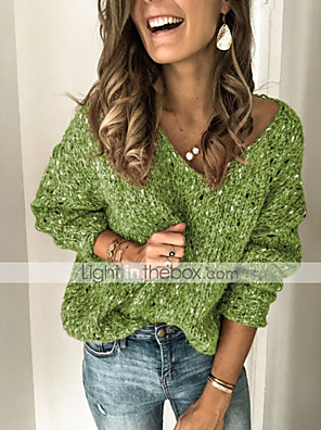 cheap Women's Pants-Women's Solid Colored Pullover Long Sleeve Sweater Cardigans V Neck Blue Green Brown