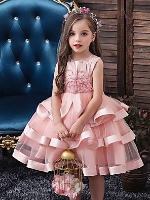 cheap Flower Girl Dresses-Princess / Ball Gown Knee Length Wedding / Party Flower Girl Dresses - Tulle Sleeveless Jewel Neck with Bow(s) / Appliques / Cascading Ruffles