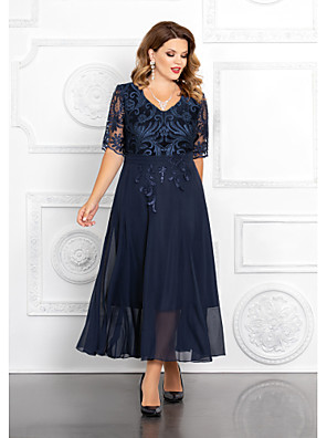 cheap Bridesmaid Dresses-A-Line Mother of the Bride Dress Elegant Plus Size V Neck Ankle Length Chiffon Sequined Half Sleeve with Appliques 2020