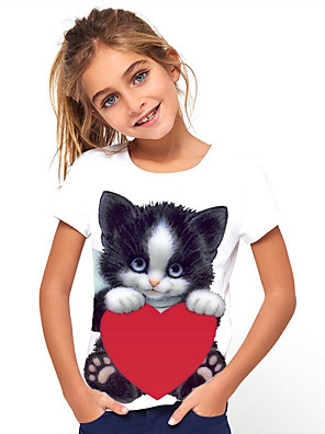 cheap Boys' Tops-Kids Girls' Cat Graphic Print Tee Cute Round Neck Short Sleeve Lounge T Shirt Tops
