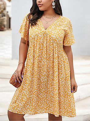 cheap Plus Size Swimwear-Women's A-Line Dress Knee Length Dress - Short Sleeves Floral Summer Casual 2020 Yellow Royal Blue XL XXL XXXL XXXXL