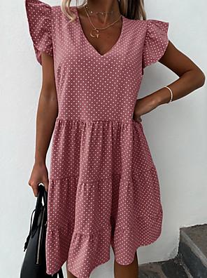 cheap Mini Dresses-Women's Swing Dress Knee Length Dress - Short Sleeves Polka Dot Ruffle Summer Casual Daily 2020 Blushing Pink S M L XL