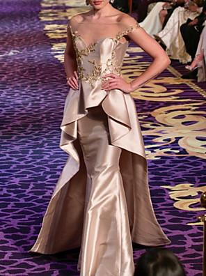 cheap Prom Dresses-Mermaid / Trumpet Elegant Peplum Wedding Guest Formal Evening Dress Illusion Neck Short Sleeve Floor Length Taffeta with Beading Ruffles 2020