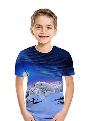 cheap Boys' Tops-Kids Boys' Street chic Animal Short Sleeve Tee Black