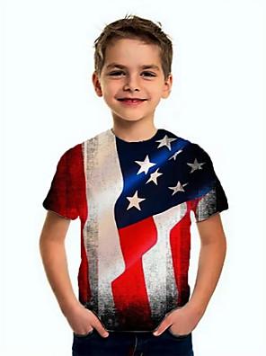 cheap Boys' Tops-Kids Boys' Basic Flag Short Sleeve Tee Blue