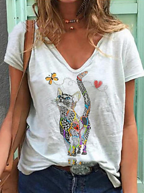 cheap Women's T-shirts-Women's T-shirt Animal V Neck Tops Summer White