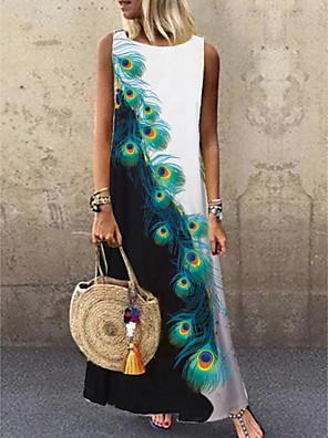cheap Evening Dresses-Women's Shift Dress Maxi long Dress - Sleeveless Floral Print Summer Casual Daily 2020 Black M L XL XXL XXXL
