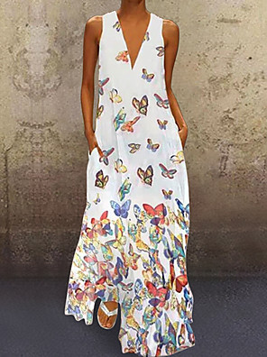 cheap Evening Dresses-Women's A-Line Dress Maxi long Dress - Sleeveless Butterfly Animal Print Summer Deep V Plus Size Casual Vacation Beach 2020 White Purple Yellow Blushing Pink Light Blue S M L XL XXL XXXL XXXXL XXXXXL