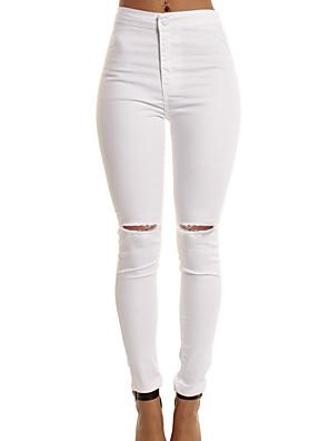 cheap Women's Blouses & Shirts-Women's Basic Slim Cotton Jogger Pants Solid Colored White Black Navy Blue S M L