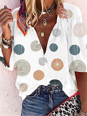 cheap Women's T-shirts-Women's T-shirt Polka Dot Graphic Print V Neck Tops Basic White