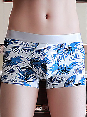 cheap Men's Exotic Underwear-Men's Print Boxers Underwear - Normal Low Waist White Black Blue M L XL