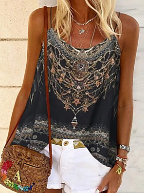 cheap Women's Blouses & Shirts-Women's Blouse Geometric V Neck Tops Summer Black Purple Red