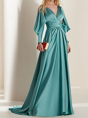cheap Evening Dresses-A-Line Elegant Beautiful Back Engagement Formal Evening Dress V Neck Long Sleeve Sweep / Brush Train Satin with Pleats 2020
