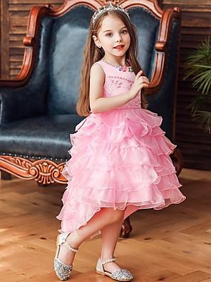 cheap Flower Girl Dresses-Princess / Ball Gown Knee Length Wedding / Party Flower Girl Dresses - Satin / Tulle Sleeveless Jewel Neck with Bow(s) / Beading / Cascading Ruffles