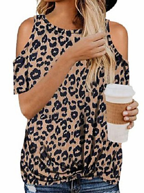 cheap Women's Blouses & Shirts-Women's Blouse Leopard Round Neck Tops Basic Summer Light Brown White Black / Going out