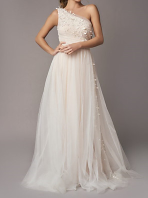 cheap Wedding Dresses-A-Line Wedding Dresses One Shoulder Sweep / Brush Train Tulle Sleeveless Country Backless with Appliques 2020