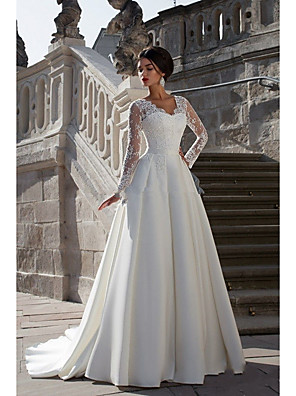 cheap Wedding Dresses-A-Line Wedding Dresses Strapless Court Train Lace Satin Long Sleeve Formal with Appliques 2020