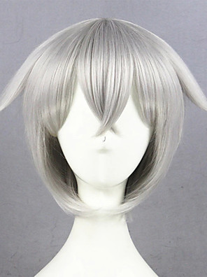 cheap Bikinis-Cosplay Costume Wig Cosplay Wig Hotarumaru Touken Ranbu Straight Cosplay Asymmetrical With Bangs Wig Short Silver grey Synthetic Hair 14 inch Women's Anime Cosplay Best Quality Dark Gray