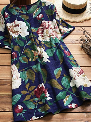 cheap Women's Blouses & Shirts-Women's Blouse Floral Loose Tops Blue Red / Short Sleeve
