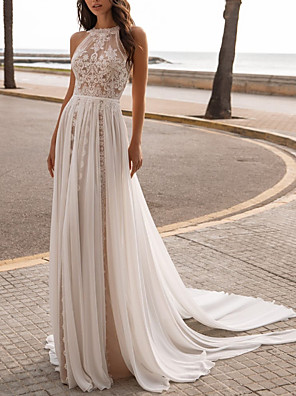 cheap Evening Dresses-A-Line Wedding Dresses Halter Neck Sweep / Brush Train Chiffon Sleeveless Beach Sexy See-Through with Embroidery 2020