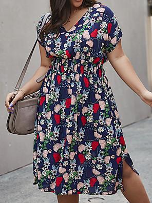 cheap Plus Size Dresses-Women's A-Line Dress Knee Length Dress - Short Sleeves Print Summer Casual 2020 Yellow Green Royal Blue XL XXL XXXL XXXXL