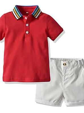 cheap Boys' Clothing Sets-Kids Boys' Basic Color Block Short Sleeve Clothing Set Red