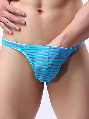 cheap Men's Exotic Underwear-Men's Print G-string Underwear - Normal Low Waist White Black Blue S M L