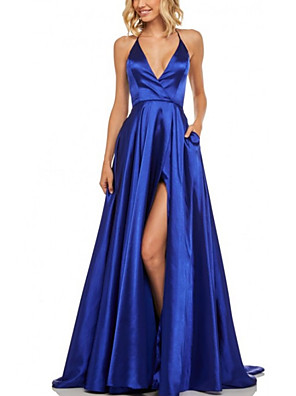 cheap Evening Dresses-A-Line Beautiful Back Sexy Engagement Formal Evening Dress Halter Neck Sleeveless Sweep / Brush Train Stretch Satin with Pleats Split 2020