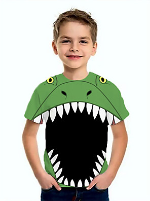 cheap Boys' Tops-Kids Boys' Basic Dinosaur Animal Print Short Sleeve Tee Green
