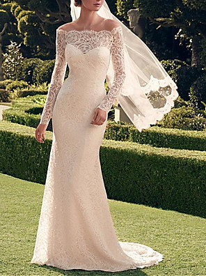 cheap Wedding Dresses-Mermaid / Trumpet Wedding Dresses Off Shoulder Sweep / Brush Train Lace Long Sleeve Romantic Sexy See-Through with Embroidery 2020