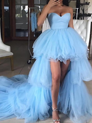 cheap Prom Dresses-A-Line Luxurious Sexy Party Wear Formal Evening Dress Sweetheart Neckline Sleeveless Asymmetrical Tulle with Tier 2020