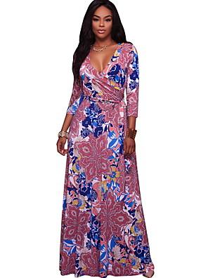 cheap Print Dresses-Women's Sheath Dress Maxi long Dress - 3/4 Length Sleeve Floral Summer Elegant 2020 Blushing Pink Navy Blue S M L XL
