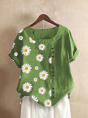 cheap Women's Blouses & Shirts-Women's Blouse Floral Round Neck Tops Blue Purple Orange