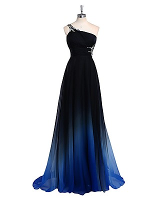 cheap Evening Dresses-A-Line Color Block Sparkle Engagement Prom Dress One Shoulder Sleeveless Sweep / Brush Train Chiffon with Pleats Crystals 2020