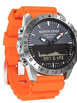 cheap Sport Watches-NORTH EDGE Men's Sport Watch Digital Modern Style Sporty Casual Water Resistant / Waterproof Silicone Black / Blue / Orange Analog Digital Analog - Digital - Black Blue Orange One Year Battery Life