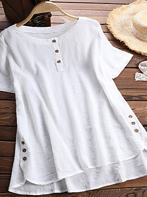 cheap Women's Blouses & Shirts-Women's Blouse Solid Colored Loose Tops Cotton Wine White Blue / Short Sleeve